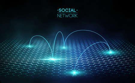 Network concept blue vector illustration. Futuristic hexagon vector illustration. Futuristic hexagon vector illustration. HUD element. Technology concept. 3d landscape.