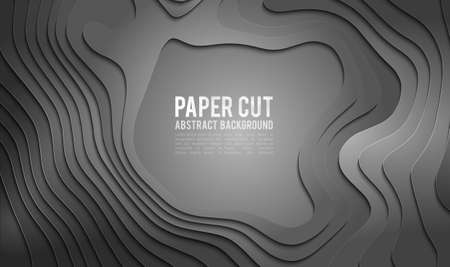 Paper cut banner concept. Paper carve abstract background for card poster brochure flyer design in grey colors. 3d abstract background  イラスト・ベクター素材