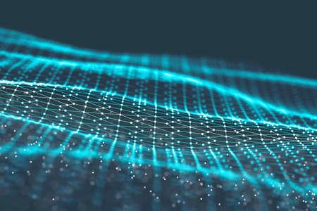Gitter des Hintergrundes 3d Cybertechnologie Ai-Technologiedrahtnetz futuristisches wireframe. Künstliche Intelligenz . Cyber Security Hintergrund Illustration