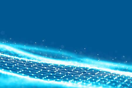 Fond grille 3D. Technologie Cyber Afr tech filaire futuriste de réseau filaire. Intelligence artificielle . Illustration de fond de cybersécurité