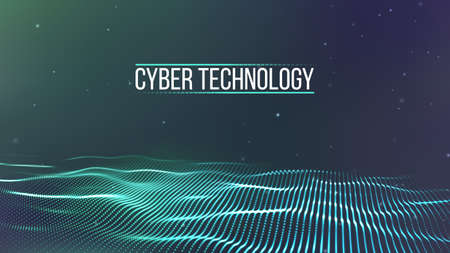 Cyber technology wire network futuristic wire frame. Cyber security background Vector illustration.