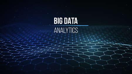 Große Datenvisualisierung . Hintergrund 3d . Daten . Daten Technologie Hintergrund Technologie . Cyber ? ? Technologie Wireless Grid Technologie futuristische futuristische Technologie . Vektor-Illustration . Künstliche Intelligenz .
