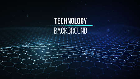 추상 기술 배경입니다. 배경 3d grid.Cyber 기술 인공 와이어 네트워크 미래의 와이어 프레임입니다. 인공 지능. 사이버 보안 배경 벡터 일러스트 레이 션