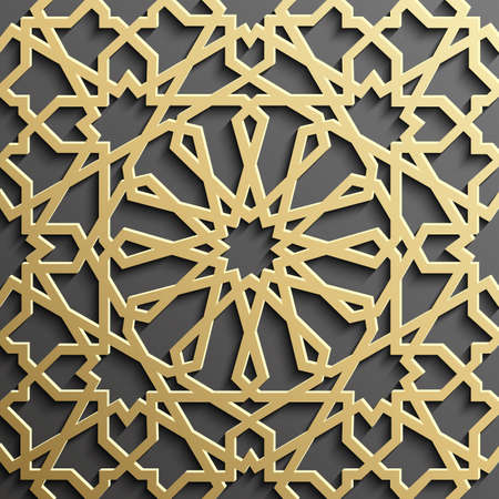 Background with gold seamless pattern on black backgroud islamic style.