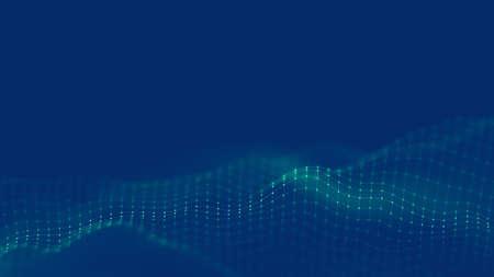 Muzyka w tle. Wizualizacja przepływu cząstek Big Data. Nauka infografika futurystyczna ilustracja. Fala dźwiękowa. Wizualizacja dźwiękowa