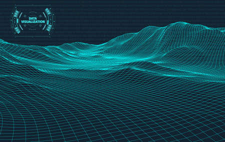 Data visualization background . Futuristic design hud element . Binary code , coding and programming concept . Wide angle wireframe landscape . Vectores