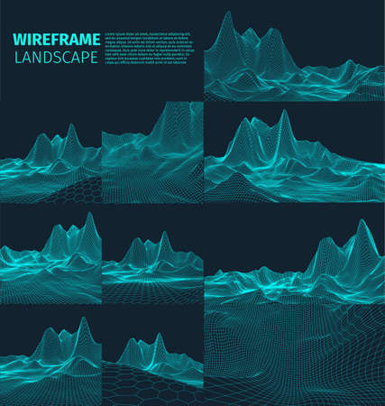 Abstract vector wireframe landscape background. Cyberspace grid. 3d technology   illustration. Digital   for presentations . Illustration