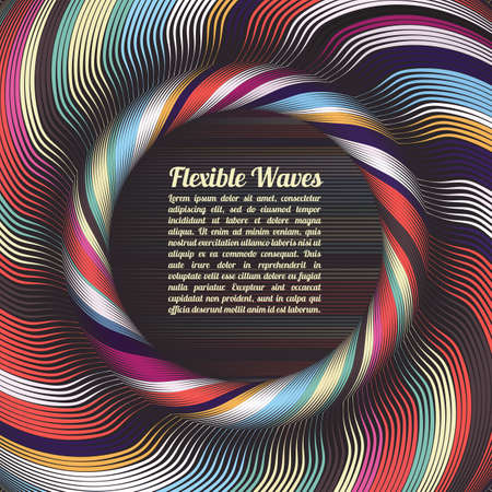 Abstract vector background, waved lines vector illustration colorful design. Wavy stripes twisted as silk . Colored stripes with variable width. Fashion , 向量圖像