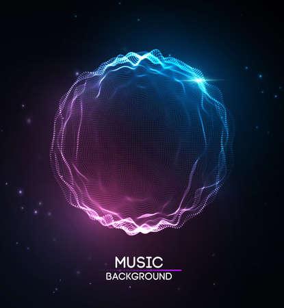 Musik abstrakten Hintergrund blau. Entzerrer für Musik, Schallwellen mit Musikwellen zeigend, Musikhintergrundentzerrervektorkonzept. Vektorgrafik