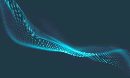 Abstract Music background. Big Data Particle Flow Visualisation. Science infographic futuristic illustration. Sound wave. Sound visualization
