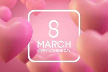 8 March International Womans day, Love heart background. love backgriund design Ilustracja