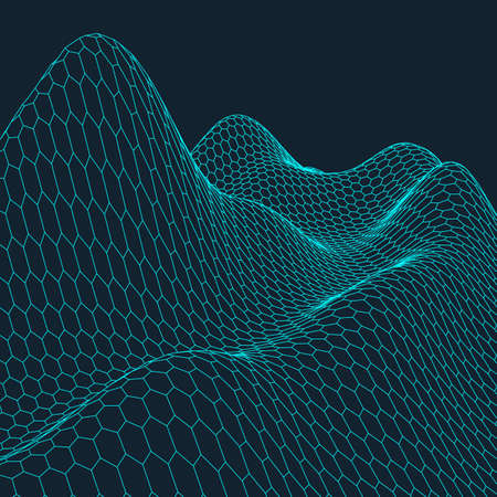 Abstract vector wireframe landscape background. Cyberspace grid. 3d technology wireframe vector illustration. Digital wireframe landscape for presentations .