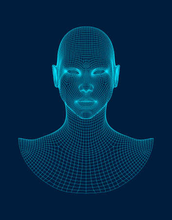 3d head wireframe vector. Drawing of wireframe head 3d model.
