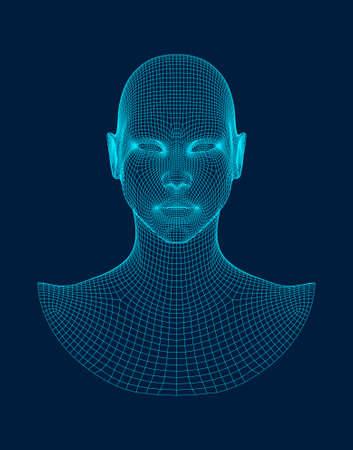 Vector de estructura metálica de cabeza 3D. Dibujo del modelo 3d de la cabeza de estructura metálica. Ilustración de vector