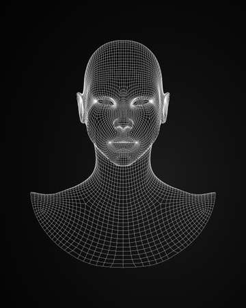 3d human head wireframe vector front view  illustration Illustration