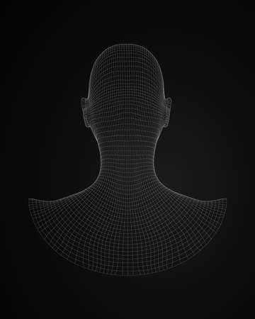 3d human head wireframe vector back view  illustration