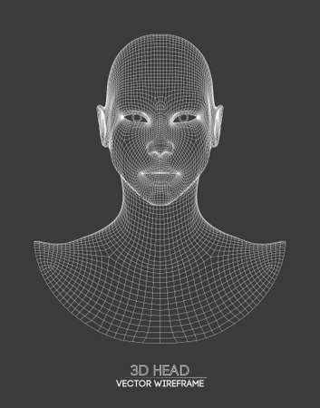 3d head wireframe vector. Drawing of wireframe head 3d model. Vector illustration.
