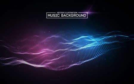 Resumen de música de fondo azul. Ecualizador para música, mostrando ondas de sonido con ondas de música, concepto de vector de ecualizador de fondo de música. Ilustración de vector