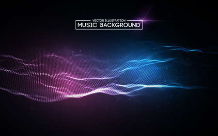 Music abstract background blue. Equalizer for music, showing sound waves with music waves.