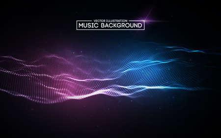 Musica astratto sfondo blu. Equalizzatore per musica, mostrando onde sonore con onde musicali.