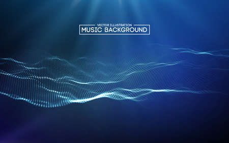 Music abstract background blue. Equalizer for music, showing sound waves with music waves, music background equalizer vector concept. Ilustração Vetorial