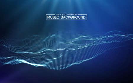 Resumen de música de fondo azul. Ecualizador para música, mostrando ondas de sonido con ondas de música, concepto de vector de ecualizador de fondo de música.