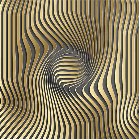 Gold abstract stripe pattern background.Optical illusion, twisted lines, abstract curves background.