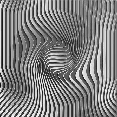 Chromium abstract silver stripe pattern background.Optical illusion, twisted lines, abstract curves background.