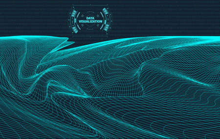 Data visualization background . Futuristic design hud element . Binary code , coding and programming concept . Wide angle wireframe landscape . Stock Photo