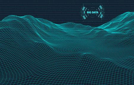 Computer generated binary code landscape on black background . Big Data . Binary Code . Wireframe landscape .