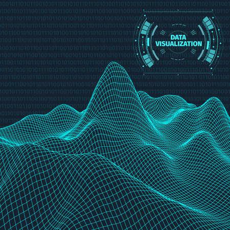 Data visualization background . Futuristic design hud element . Binary code , coding and programming concept . Wide angle wireframe landscape . Illustration