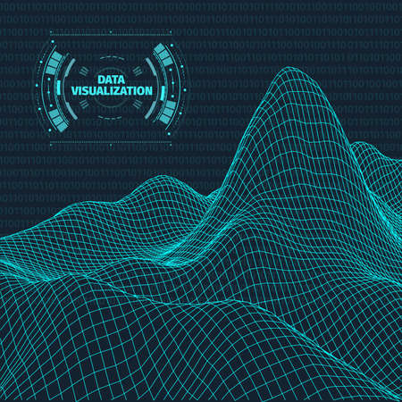 Data visualization background . Futuristic design hud element . Binary code , coding and programming concept . Wide angle wireframe landscape . Vettoriali