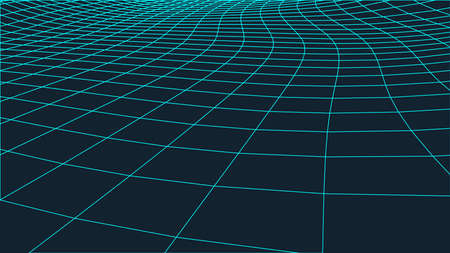 Abstract landscape background. Cyberspace grid.