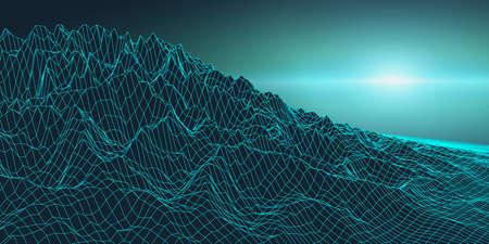 Retro background futuristic landscape 1980s style. Digital retro landscape cyber surface.