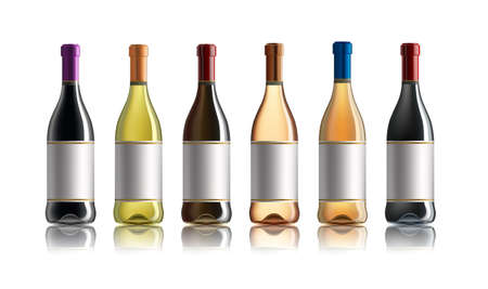 Red wine bottle. Set of white, rose, and red wine bottles. isolated on white background. Illustration