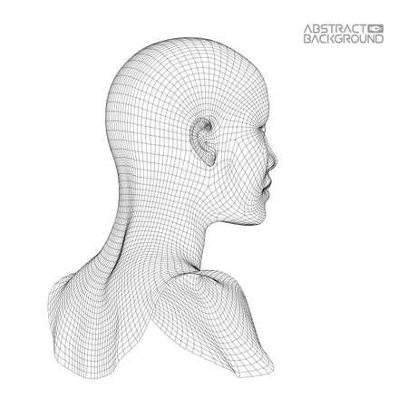 Ai cervello digitale. Concetto di intelligenza artificiale. Testa umana nell'interpretazione del computer digitale del robot. Testa wireframe Vettoriali
