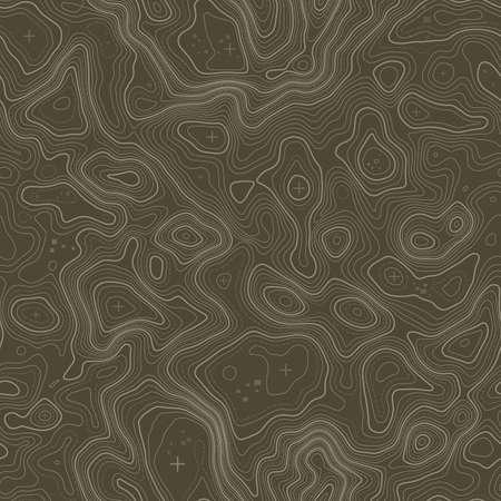 Wzór. Tło mapy topograficznej z miejscem na kopię Bezszwowych tekstur. Mapa topografii linii kontur tła, siatka geograficzna. Górski szlak turystyczny . Ilustracje wektorowe