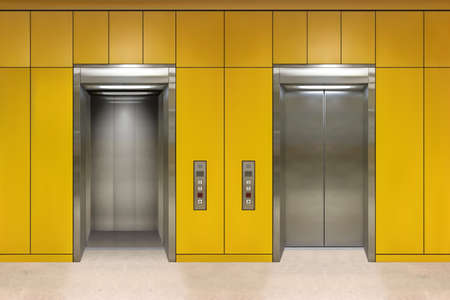 Chrome metal office building elevator doors. Open and closed variant. Realistic vector illustration yellow wall office building elevator. Stock Vector - 114821068