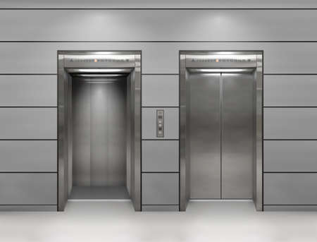 Chrome metal office building elevator doors. Open and closed variant. Realistic vector illustration gray wall office building elevator.