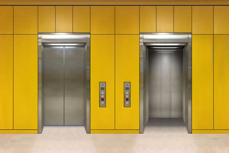 Open and closed chrome metal office building elevator doors realistic vector illustration Illustration