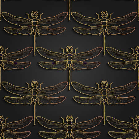 Dragonfly pattern, black gold pattern design. Vector illustration. Seamless pattern with dragonfly
