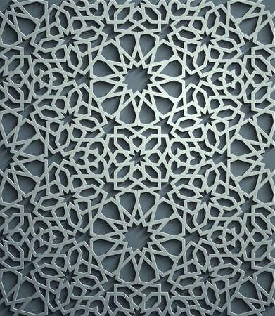 Islamic ornament vector , persian motiff . 3d ramadan islamic round pattern elements . Geometric circular ornamental arabic symbol vector . Blue background