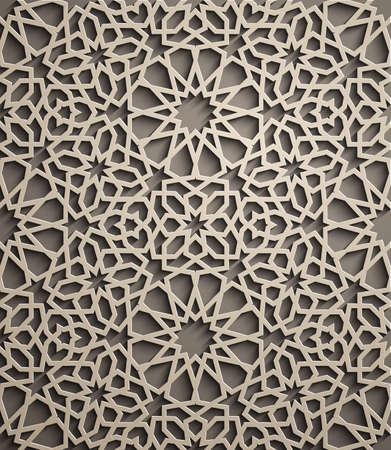 Brown background . Islamic ornament vector , persian motiff . 3d ramadan islamic round pattern elements . Geometric circular ornamental arabic symbol vector . Brown background