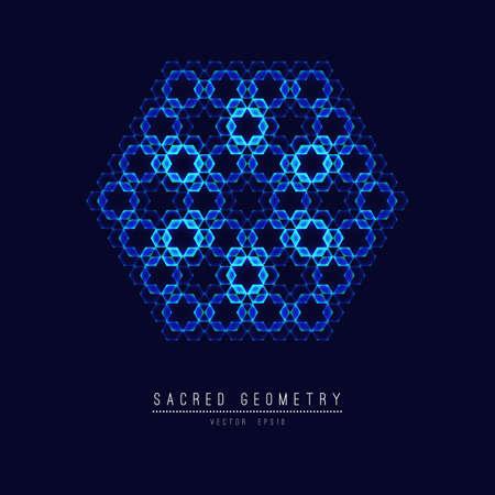 Sacred geometry line element flower of life . illustration . Stock Photo