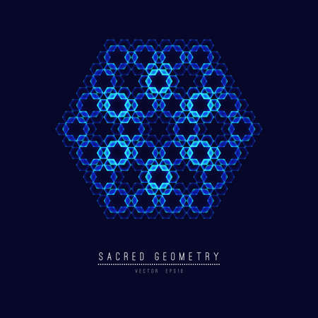 Sacred geometry line vector element flower of life . Vector illustration .