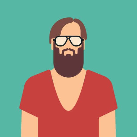 Flat hipster man character . illustration . Stock Photo