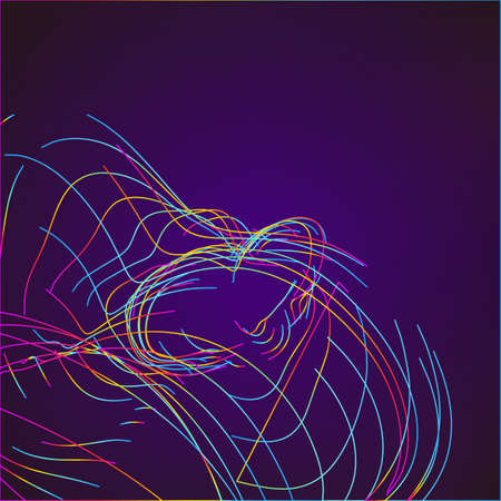Abstract Moving Colorful Lines on Dark Background