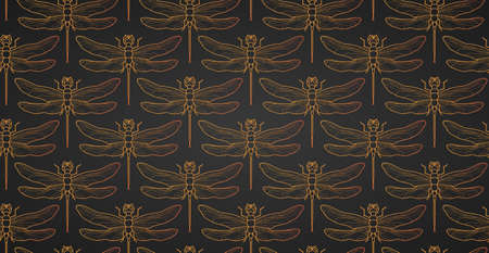 Dragonfly pattern seamless vector illustration. Insect pattern background gold. Vintage romantic tile luxury gold dragonfly on minimalistic dark elegant background. Black gold .