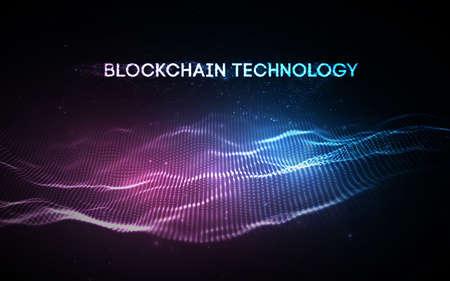 3D Background blockchain technology vector illustration