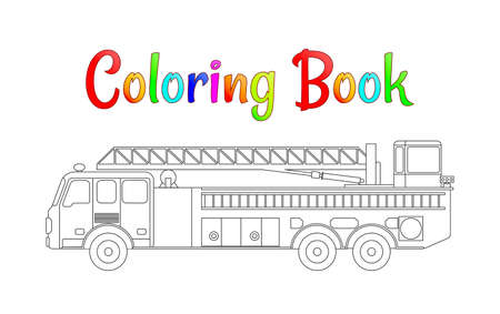 Fire truck coloring book vector. Coloring pages for kids Vector illustration eps 10. Иллюстрация